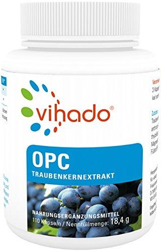 Vihado Traubenkernextrakt OPC - Kapseln Premium aus reifen roten Weintrauben, 110 Kapseln, 1er Pack (1 x 18,4 g) -