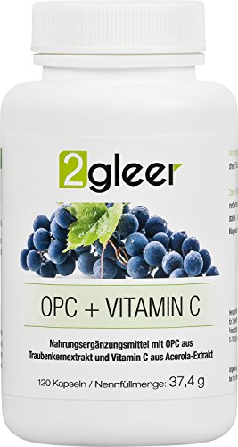 2gleer OPC Traubenkernextrakt Kapseln - vegan hochdosiert plus Vitamin C aus Acerola, 120 Kapseln -